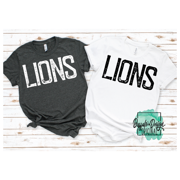 Rustic Lions Mascot Wording - RTS Screen Print Transfer