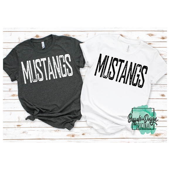 Rustic Mustangs Mascot Wording - RTS Screen Print Transfer