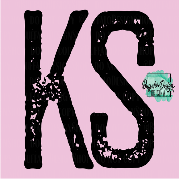 Kansas State Grunge Initial KS - RTS Screen Print Transfer