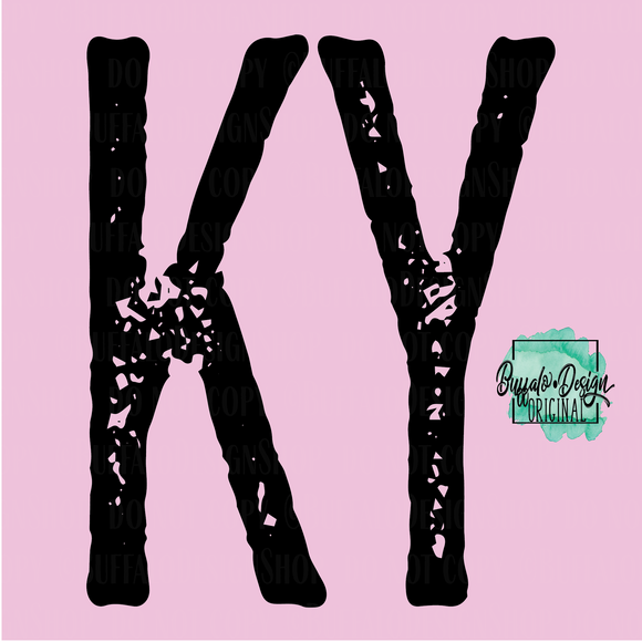 Kentucky State Grunge Initial KY - RTS Screen Print Transfer
