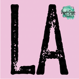 Louisiana State Grunge Initial LA - RTS Screen Print Transfer