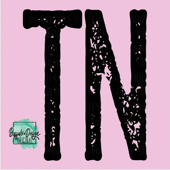 Tennessee State Grunge Initial TN - RTS Screen Print Transfer