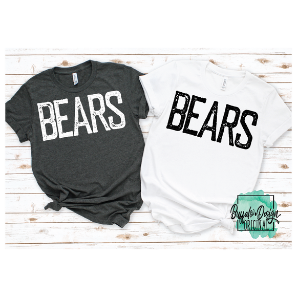 Rustic Bears Mascot Wording - RTS Screen Print Transfer
