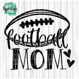 Football Mom with Football & Hearts - RTS Screen Print Transfer