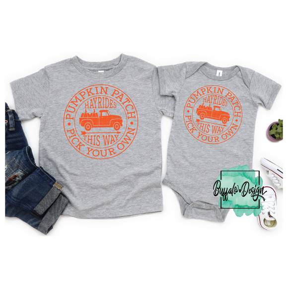 Pumpkin Patch - Pick Your Own - Hayrides This Way - RTS Screen Print Transfer