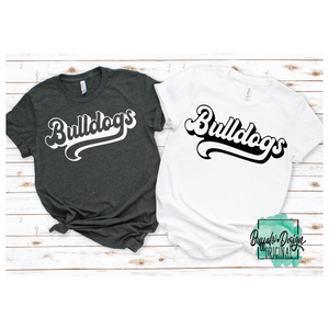 Retro Bulldogs Mascot Wording - RTS Screen Print Transfer