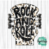 Rock & Roll Guitar with Leopard Print - RTS Screen Print Transfer