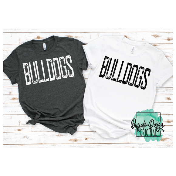 Rustic Bulldogs Mascot Wording - RTS Screen Print Transfer