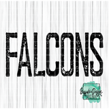 Rustic Falcons Mascot Wording - RTS Screen Print Transfer