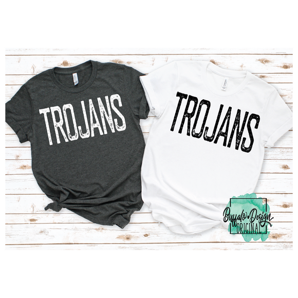 Rustic Trojans Mascot Wording - RTS Screen Print Transfer
