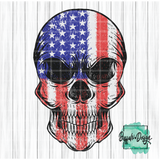 Skull with US Flag - RTS Screen Print Transfer