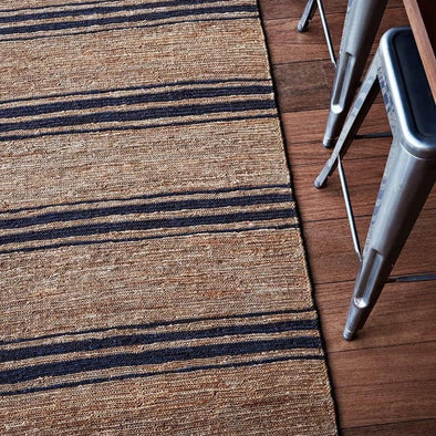 River Ticking Stripe Rug - Natural Indigo
