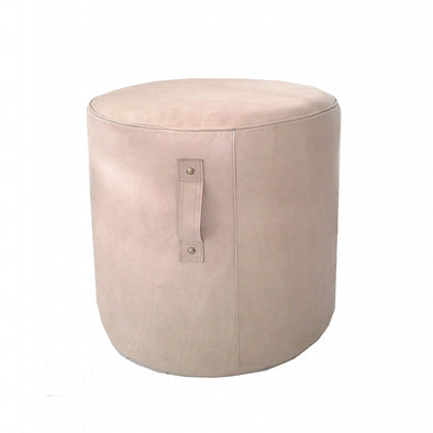Aren Tall Leather Ottoman Blush