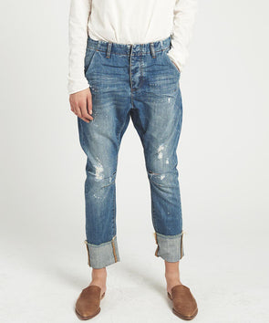 BLUE REBEL CAVALRIES TAPERED BOYFRIEND JEAN