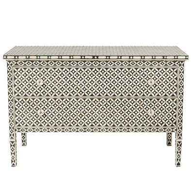 Bone Inlay 2-Drawer Chest - Geometric - Black