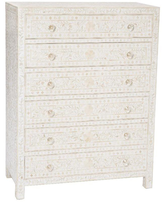 Bone Inlay 6-Drawer Tallboy - Floral - White