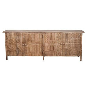 Carved 4-Door Sideboard - Tribal - Natural