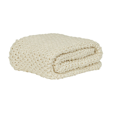 Evie Knotted Throw Ivory