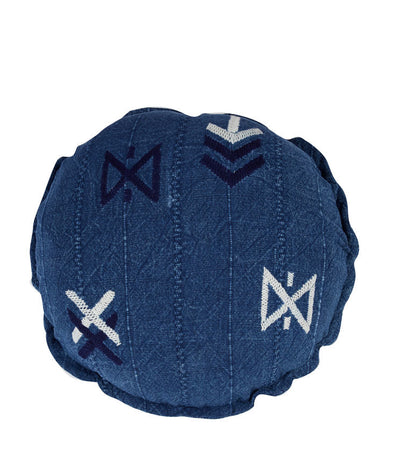 Hieroglyphic Round Cushion Indigo With Inner