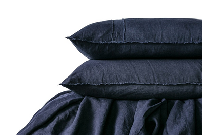 LINEN DUVET SET NAVY