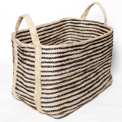 Large Jute Basket - Charcoal Stripe