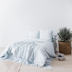 Linen Duvet Set Sky Blue