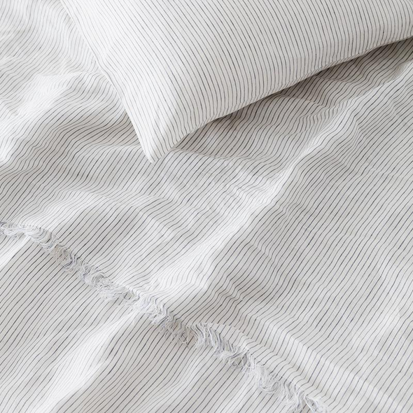 Linen Sheet Set Blue Stripe Double
