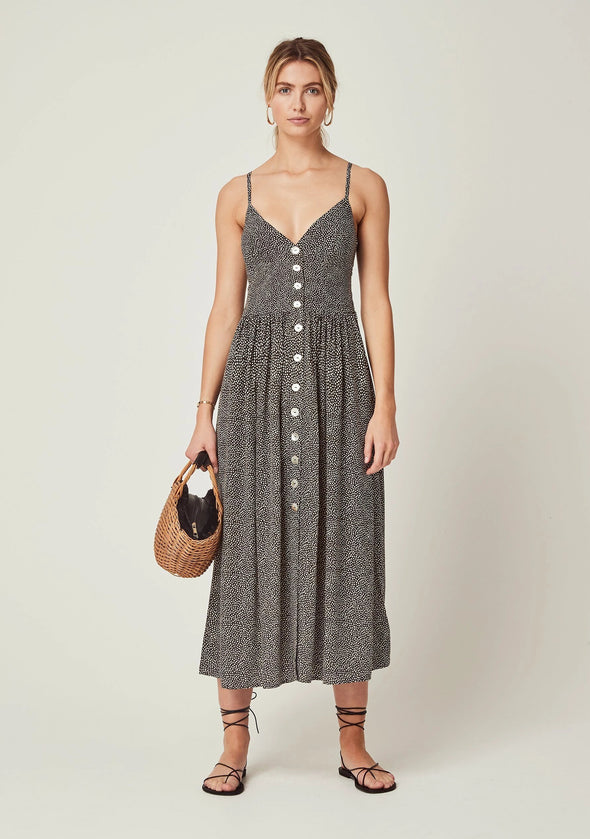 Tear Drop Staple Midi Dress Charcoal