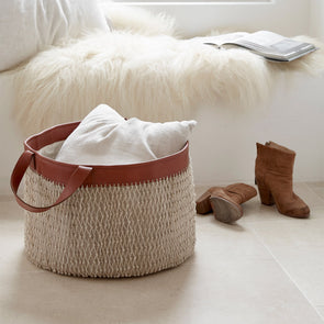 String Basket with leather handles
