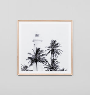 Tropical Lighthouse Grey Print