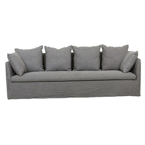 Vittoria Slip Cover 4 Seater Sofa Washed Smoke