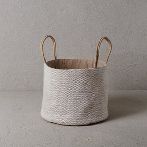 Woven Jute Basket - White Diamond