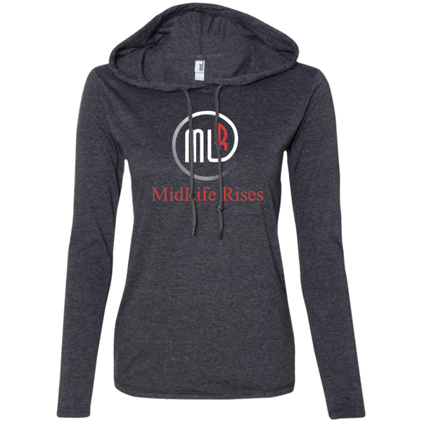 Midlife Rises With Logo- 887L Anvil Ladies' LS T-Shirt Hoodie