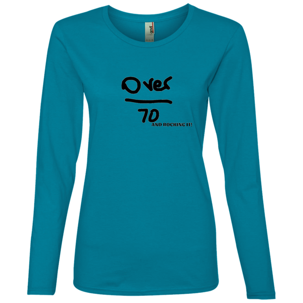 'Over 70 and Rocking it' - 884L Anvil Ladies' Lightweight LS T-Shirt