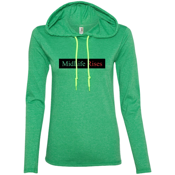 Midlife Rises Without Logo - 887L Anvil Ladies' LS T-Shirt Hoodie