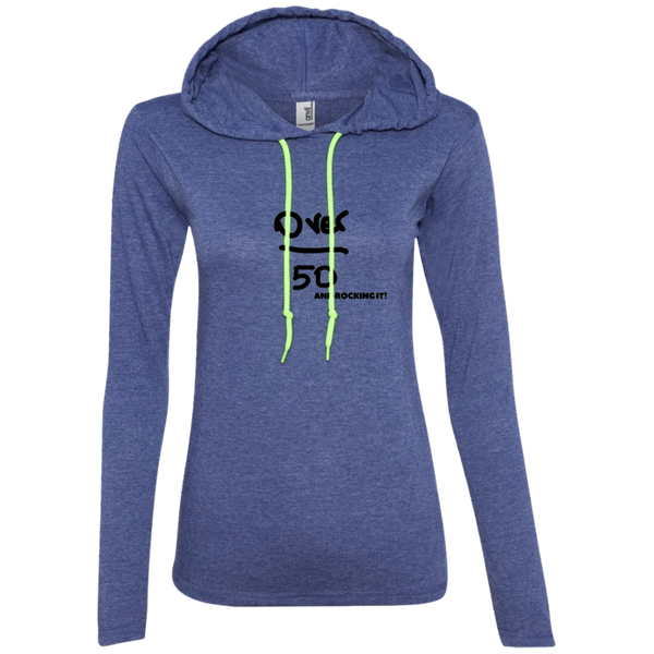 Over 50 and Rocking It - 887L Anvil Ladies' LS T-Shirt Hoodie