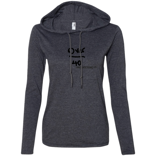 I'm Over 40 and Rocking It! - 887L Anvil Ladies' LS T-Shirt Hoodie