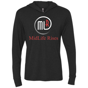 Midlife Rises With Logo - NL6021 Next Level Unisex Triblend LS Hooded T-Shirt