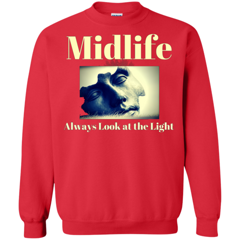 MidLife - Always Look at the Light - Men's G180 Gildan Crewneck Pullover Sweatshirt  8 oz.