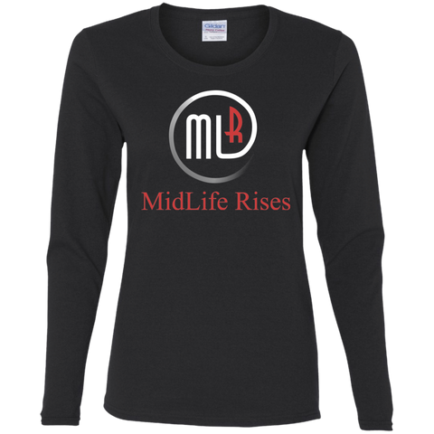 Midlife Rises With Logo - G540L Gildan Ladies' Cotton LS T-Shirt