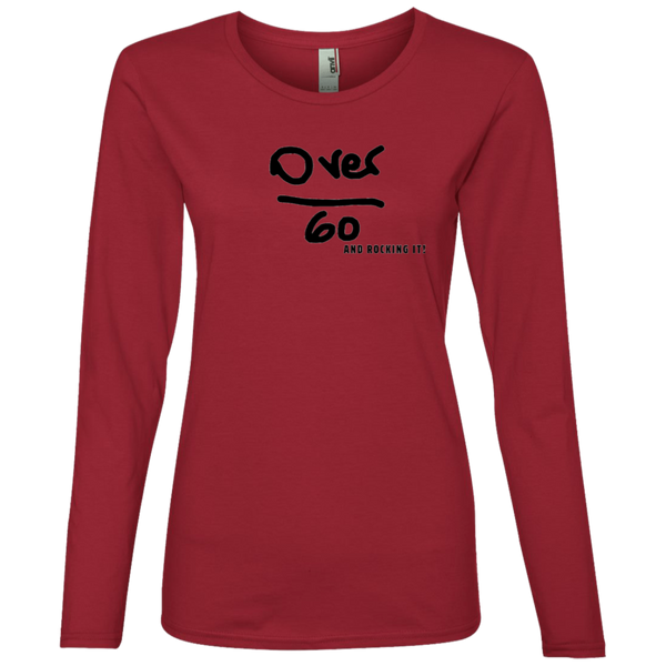 'Over 60 and Rocking it' 884L Anvil Ladies' Lightweight LS T-Shirt