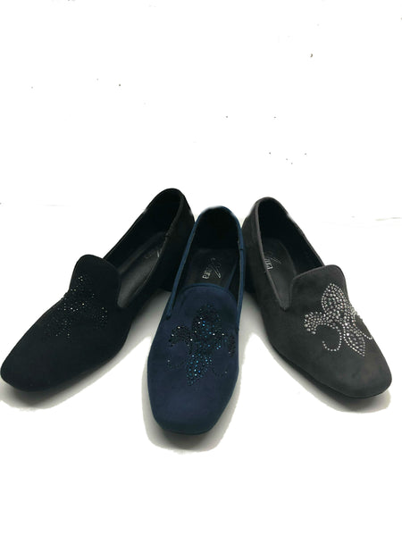 Faux Suede Slip-on Shoes With Rhinestones