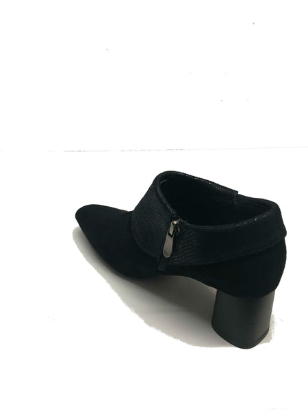 Faux Suede Shoe-Like Boots With Printed Cuffs