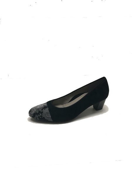German Style Suede Shoes With Silver Rhinestones