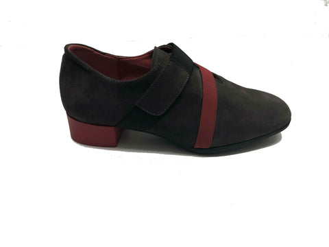 Stylish Grey and Red Suede Shoes
