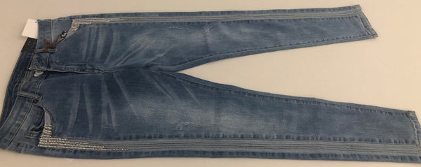 Jeans With Rhinestones Along Sides