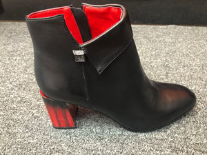 Black Leather Short Boots With a Unique Red and Black Heels