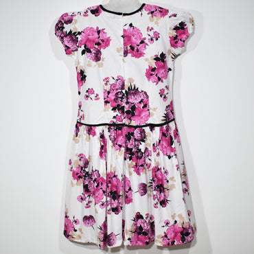 Pink Flower Printed Square Neck Kids Girls Dress