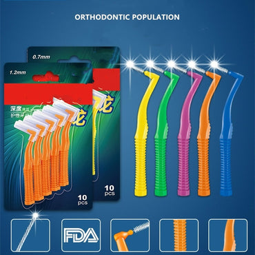 (Global Shop) 10Pcs Set L Shape Push-Pull Interdental Tooth Brush