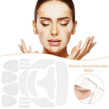 (Global Shop) 16PCS Reusable Silicone Anti-Wrinkle Face Forehead Sticker